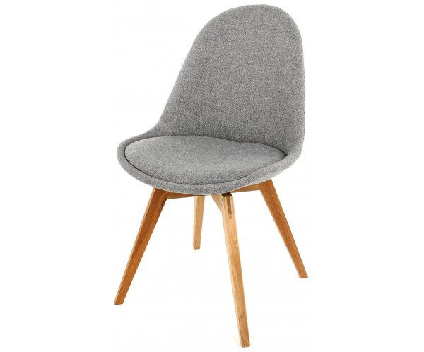 Krzesło Nowoczesne Donna Szare Tkanina Nogi Bess Drewniane - 682zl