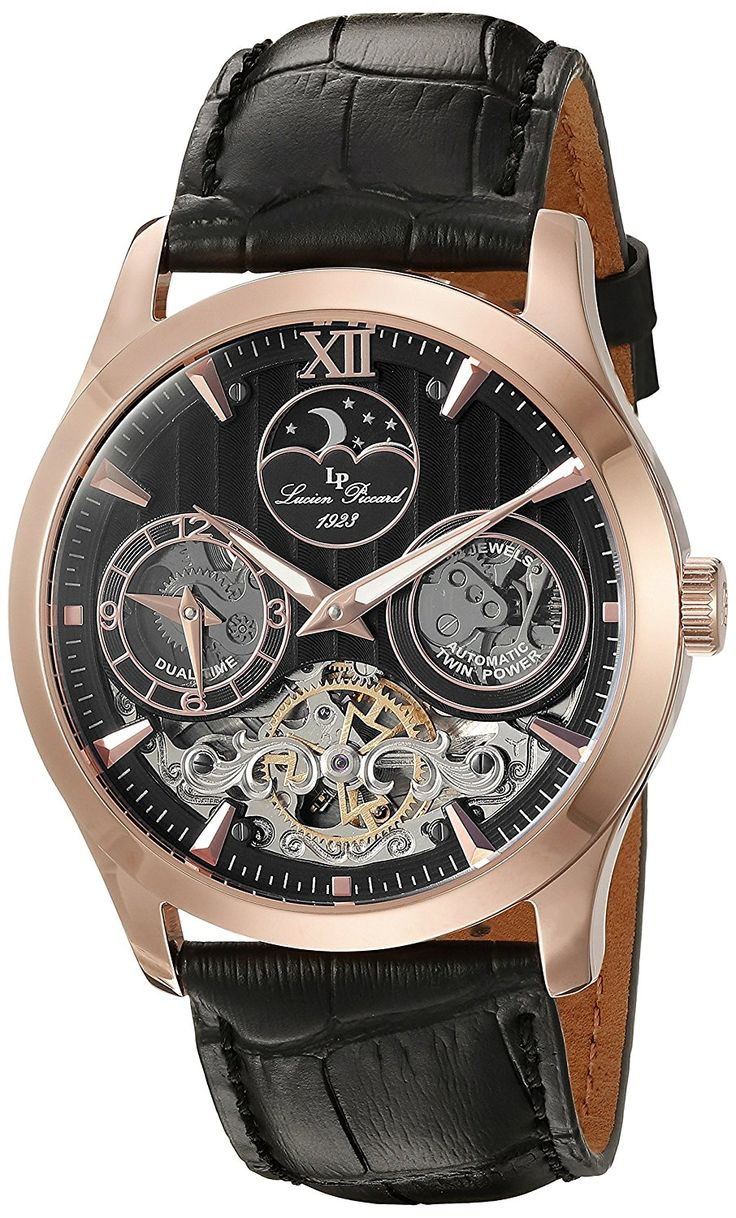 Lucien Piccard Men's 40017A-RG-01 San Marco Analog Display Automatic Self Wind Black Watch -- Want to know more about the watch, click on the image.