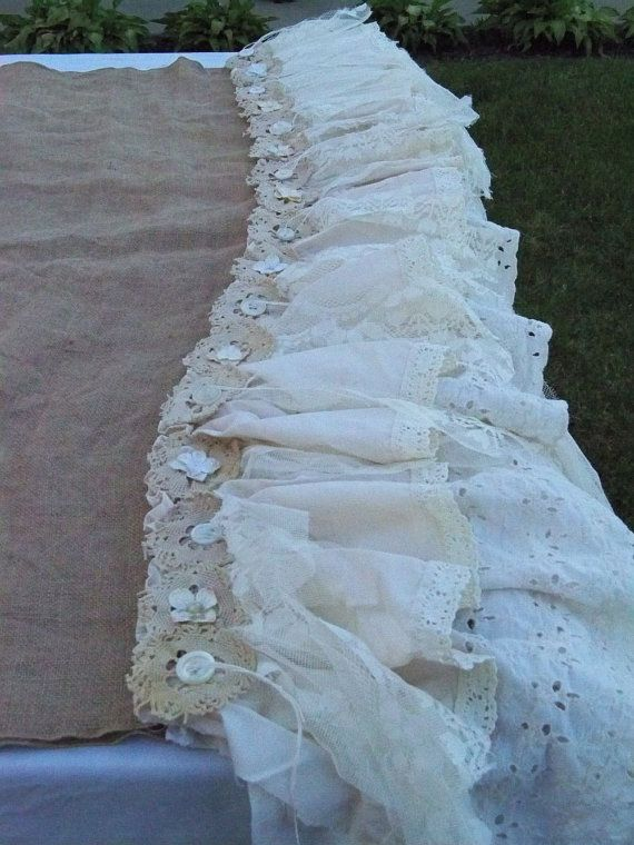 Handmade burlap lace tablecloth large upcycled by AnitaSperoDesign