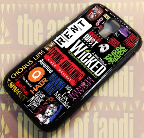 Broadway Musical Collage For Samsung Galaxy S4 Black Rubber Case