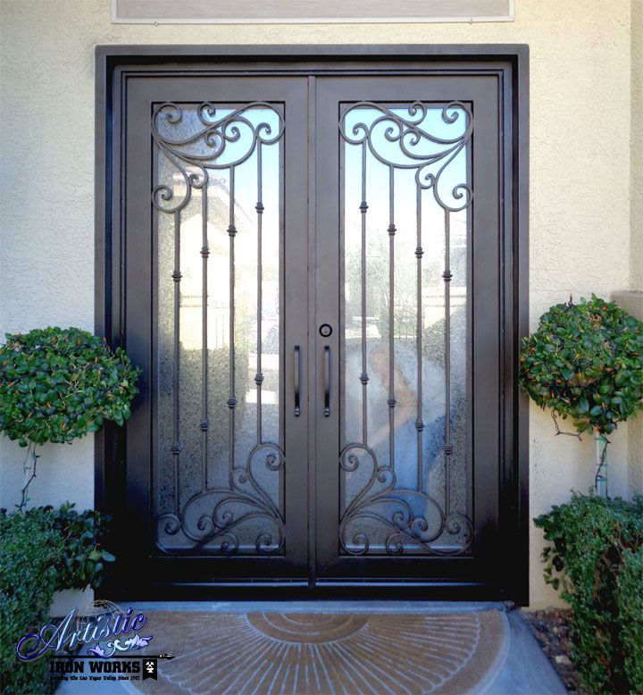 Wrought iron and glass grand entryway - Model: Melodia GE0189