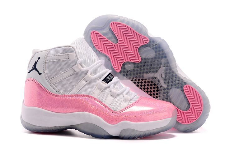 Girls New Jordans 11 hot sale color White Pink with Fluorescent Powder Print