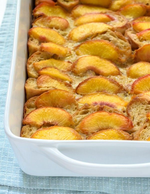 Overnight Cinnamon Peach French Toast Bake. Our favorite French toast casserole recipe! A secret ingredient makes this French toast casserole taste indulgent, but adds NO fat!