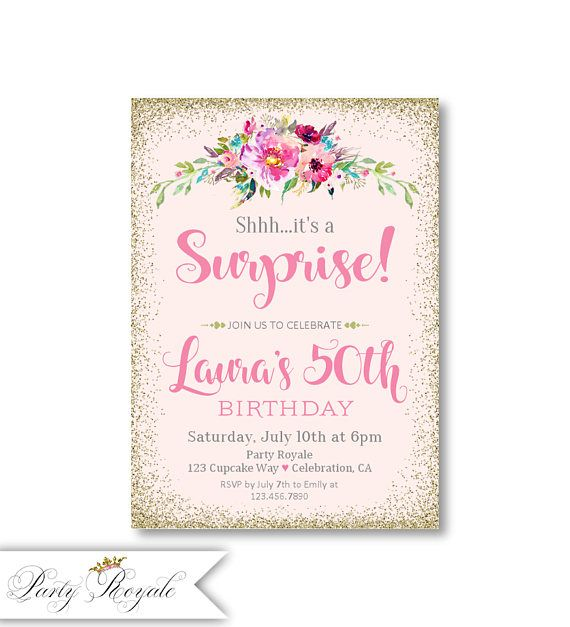 The 114 best surprise birthday party invitations images on pinterest womens birthday invitations any age woman surprise 50th birthday invites pink and gold glitter look surprise party invites for her 50th filmwisefo