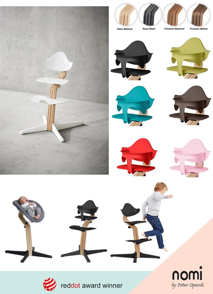 De Nomi eetstoel werd ontworpen door de Noorse designer Peter Opsvik (ontwerper Tripp Trapp) met zijn kleinkinderen in het achterhoofd. Hij liet zich inspireren door hun bewegingen. In de Nomi stoel hebben de kinderen een stabiel platform dat stimuleert tot verschillende zithoudingen. Mooi én functioneel. Kinderspeciaalzaak 'In de wolken' - Mortsel
