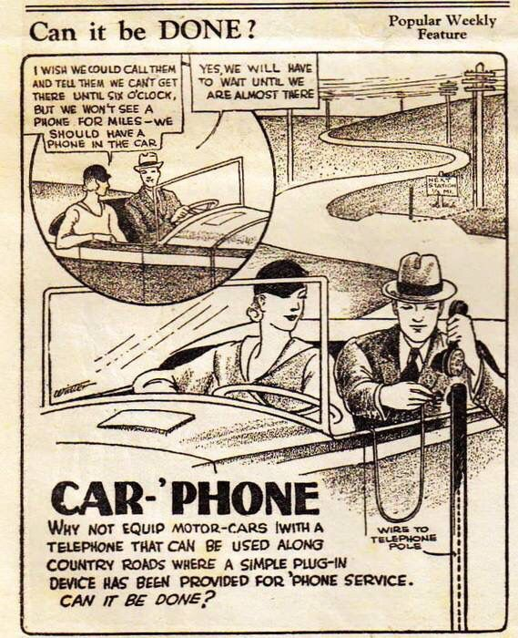 """Trial balloon for a """"Car Phone"""" that one could plug into posts spaced along country roads to make calls."""
