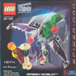 LEGO Studios: Green Goblin Set by Lego. $84.99. Lego Green Goblin Set #1374. Set Comes with 55 pieces.. Comes with 2 Mini-figs; Green Goblin and Mary Jane.. Made by lego in 2002 and long out of production.. The Green Goblin is flying through the air on his Goblin Glider. Can Mary Jane escape from the villain and his pumpkin bombs? Recreate your favorite scenes from the new Spider-Man movie with this LEGO set. Includes Green Goblin, Glider and Mary Jane. Comes wit...