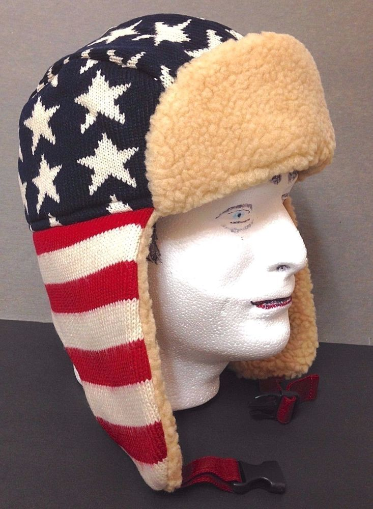 89059674c19d6 AMERICAN FLAG TRAPPER HAT Winter Knit Faux-Shearling Stars And Stripes  Men Women  FadedGlory  AviatorTrapper
