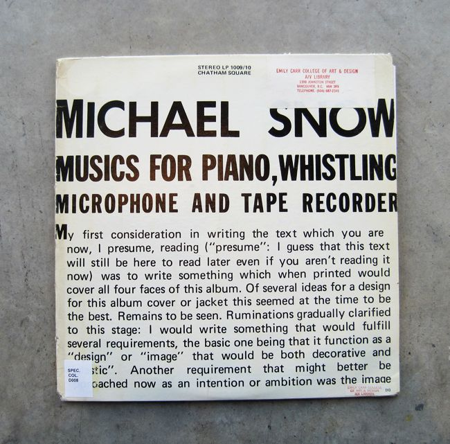 Artists' Sound Recording: Musics for Piano, Whistling, Microphone and Tape Recorder / Michael Snow, 1975.