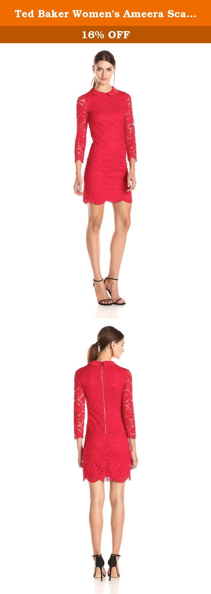 Ted Baker Women's Ameera Scallop Hem Lace Long Sleeve Dress, Mid Red, 4. Ameera scalloped hem lace dress. Three-quarter length lace sleeves. Contrast plain collar. Exposed metallic zip at back.