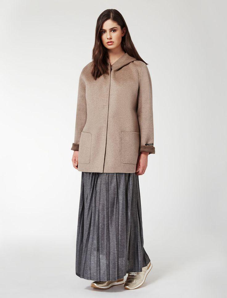 """Дважды шерсть и нейлон пальто, средний серый - """"NAIADE"""" Марина Ринальди"""