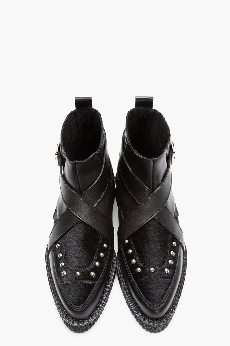 UNDERGROUND Black Leather & Calf-Hair Buckled Chelsea Creeper Boots