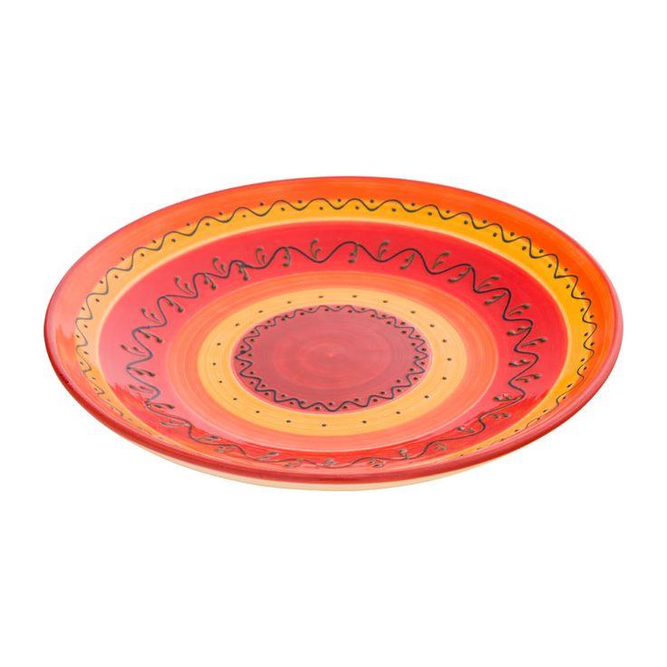Schaal handdecoratie 35 cm rood/oranje   Xenos