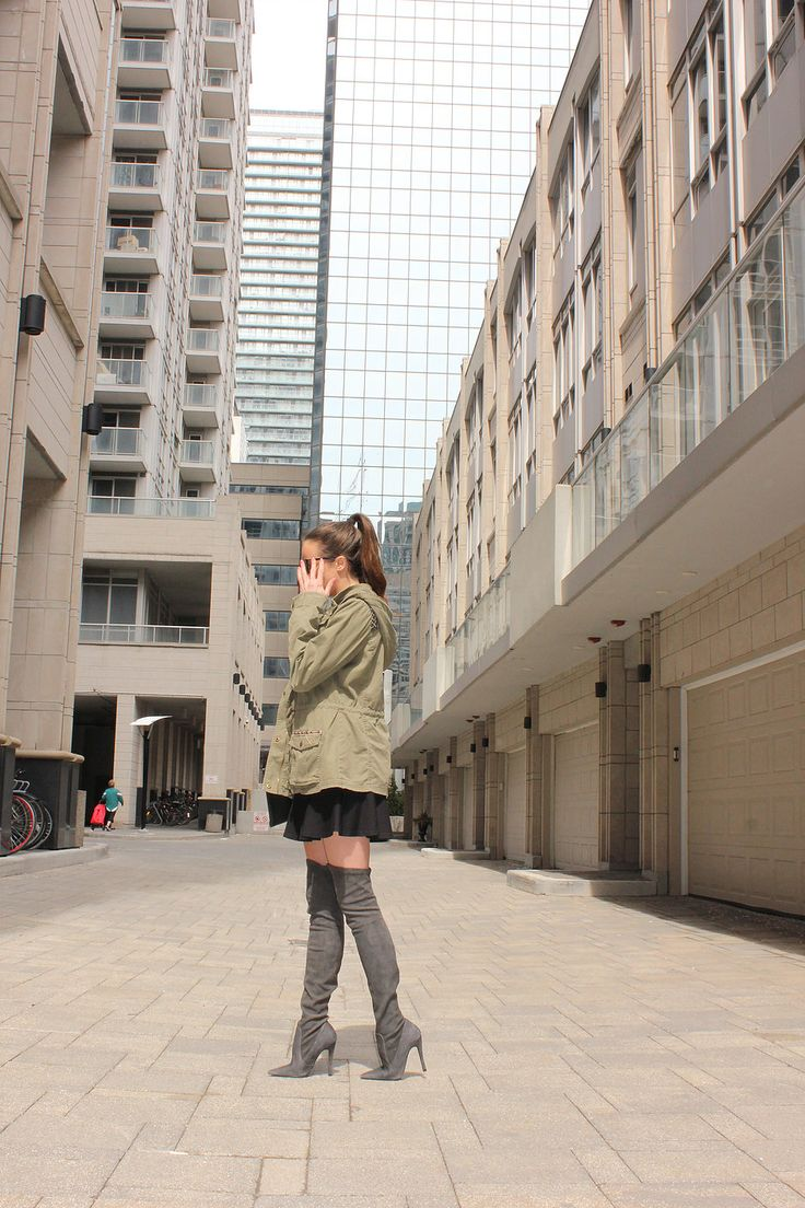Military jacket, thigh high boots and a little black sress! Get the complete look on blog and cross your fingers for me that this is the end of winter!
