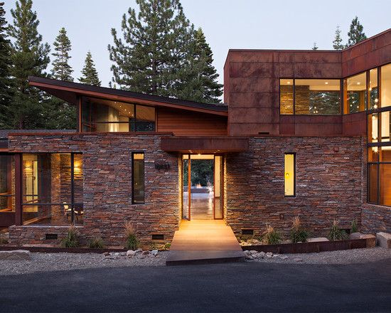 Exotic Mountain House Using Exotic Wooden Material And Natural - Modern exterior house design with stone