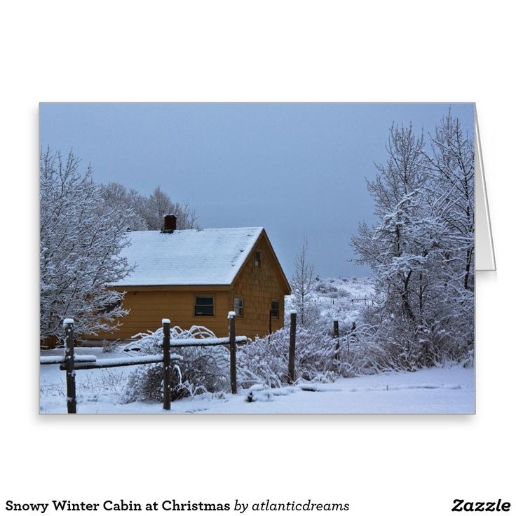 Snowy Winter Cabin at Christmas Greeting Card