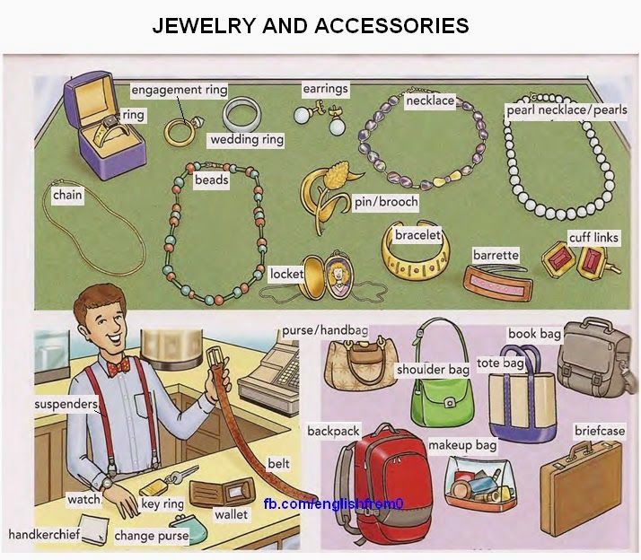 English for beginners: jewelry and accessories Repinned by Chesapeake College Adult Ed. We offer free classes on the Eastern Shore of MD to help you earn your GED - H.S. Diploma or Learn English (ESL). www.Chesapeake.edu