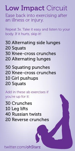 Try this low impact circuit workout when recovering from an illness or injury. I'm doing this workout today to ease back into exercise after my surgery. When recovering, listen to your body and skip it if it | http://howtobehealthyguide277.blogspot.com