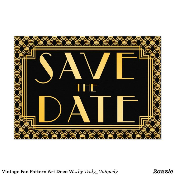 cruise wedding save the date announcement%0A Vintage Fan Pattern Art Deco Wedding Save the Date