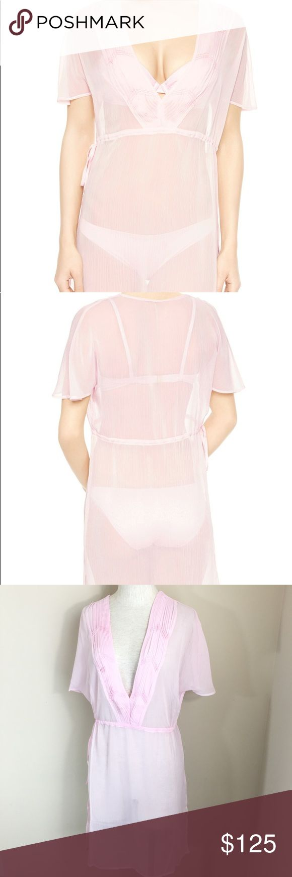 """La Perla Baltimora Caftan Sheer Cover Up Dress This is a new with tags La Perla Caftan. Can be used as a swim cover up. Light Pink. US Size 6 and 8 available. Sheer and lightweight. 100% Polyester. Features drawstring waist.     Size 8 Measurements taken while laying flat: 16"""" Shoulder to shoulder 20"""" Chest 35"""" Length 19"""" Waist   Size 6 Measurements taken while laying flat: 14"""" Shoulder to shoulder 19"""" Chest 35"""" Length 17"""" Waist La Perla Swim Coverups"""