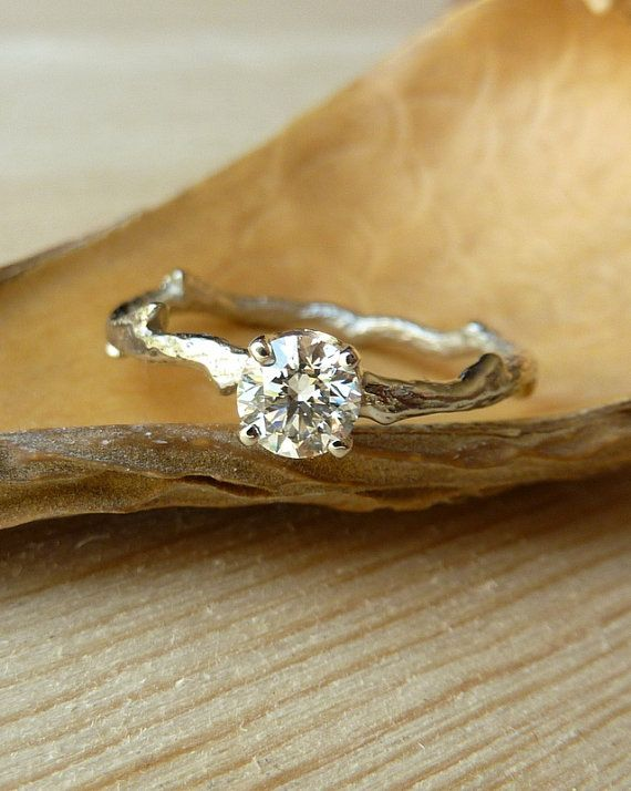 Prong Set Diamond Branch Band  Deposit by kateszabone on Etsy, $500.00