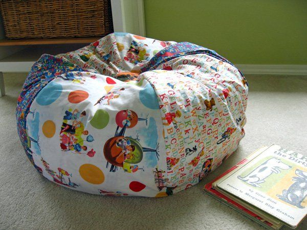 I'm loving this kid-friendly bean bag chair project from the Michael Miller Fabrics blog. See more pics and download the PDF instructions here.