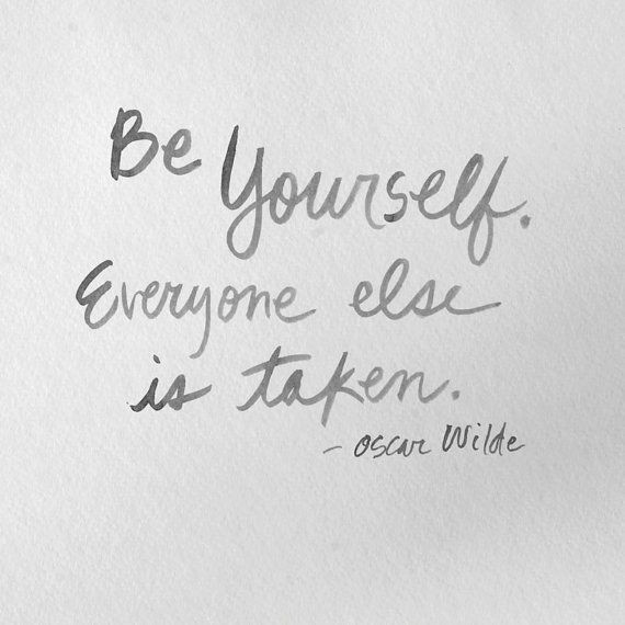 """Be Yourself Quotes Cute: Original Ink Wash Drawing Typography Quote """"Be Yourself"""