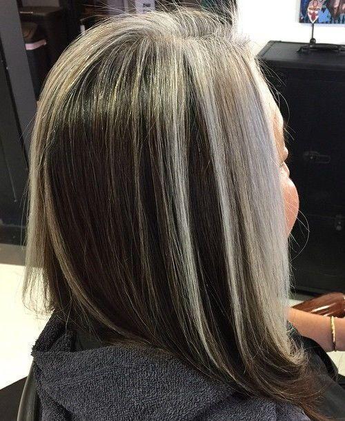 Idées Coupe cheveux Pour Femme  2017 / 2018   36 long bob noir avec balayage gris