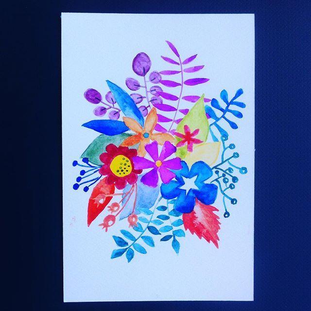 Apurando estos días.  #watercolor #gatosyrinocerontes #flower #surfacedesign #diytiger #pattern