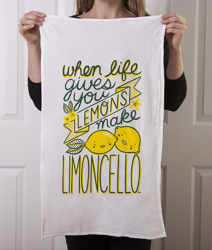 This tea towel art has been lovingly designed and screen printed by Claire Manning A tribute to that lovely sweet Italian liquer when life gives you lemons some time you need something a bit stronger than lemonade The towel is a 100% cotton flour sack tea towel sized approximately 29 inches by 17