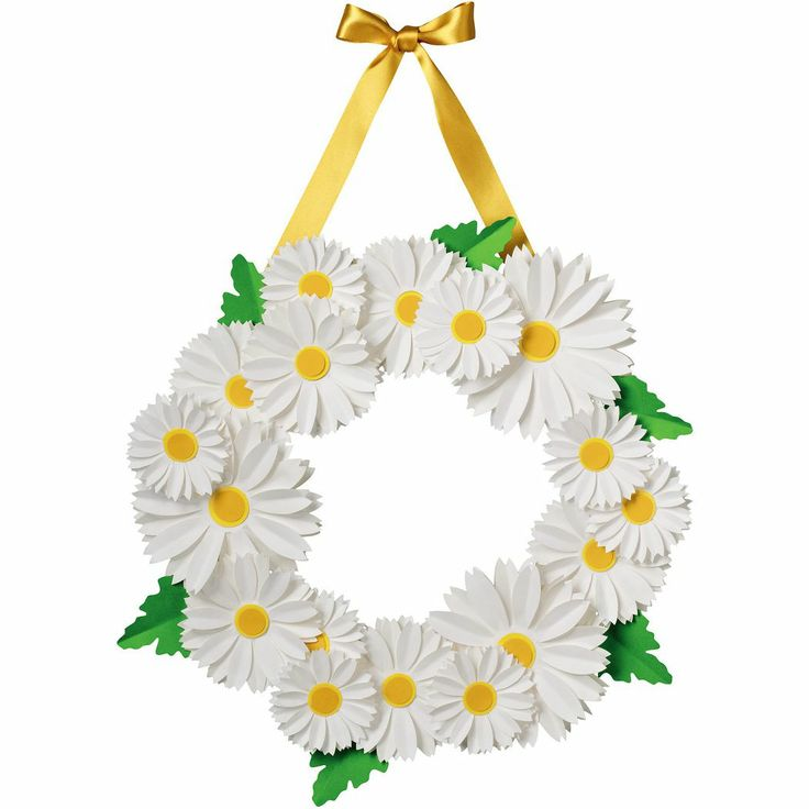 """Crisp white daisies paired with clover green leaves feel so springtime fresh. Make this wreath on a rainy afternoon and enjoy the cheer it brings! Adorn your front door, hang above a mantel or display in a window. Kit makes one 16"""" wreath. $19.95"""
