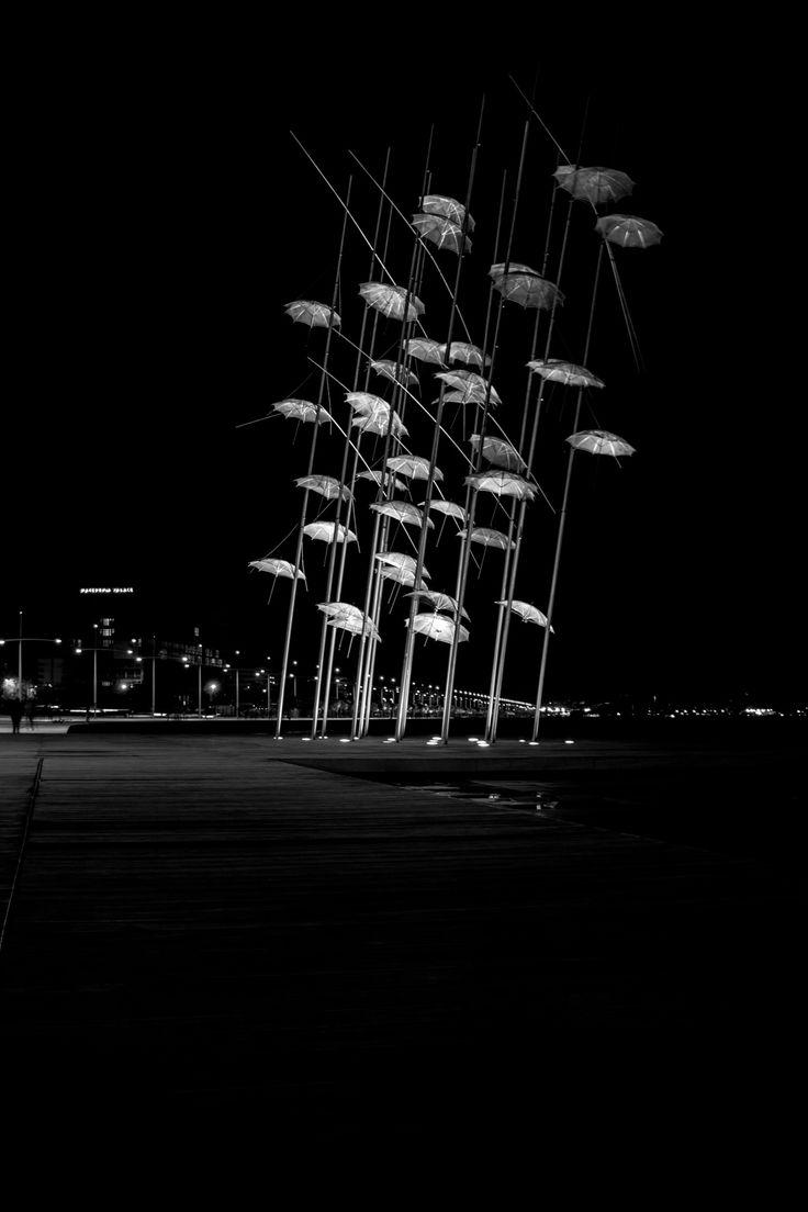 umbrellas by night - Nea Paralia, Thessaloniki Umbrellas