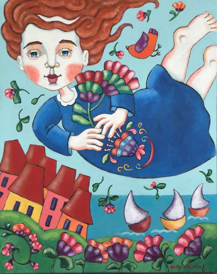 """Over Land and Sea"".. #hollywojahnart#FrenchFlowers#FrenchSeasideScene#CollioureFrance#ColorfulCollioure#WhimsicalKidsArt#ChagallIInspiredArt#BottacelliWoman#"
