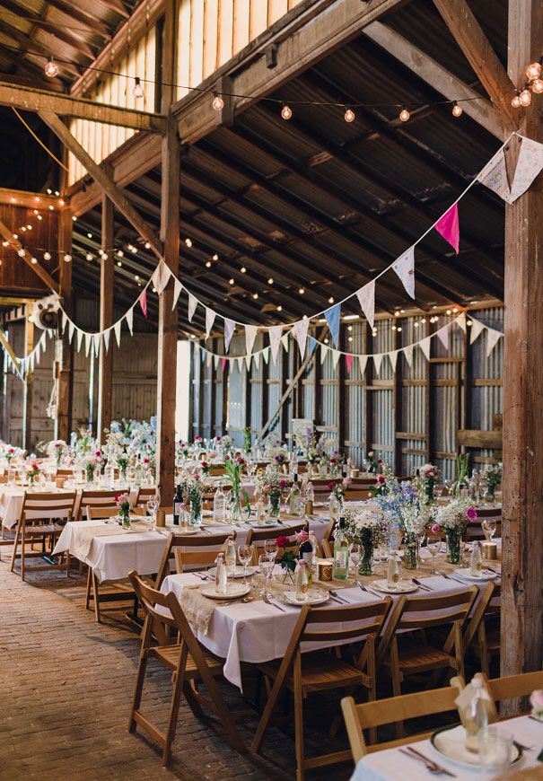 JACQUI + SCOTT // #rustic #vintage #DIY #country #barn #colour #bunting #flowers #white #wood #pink #green #purple #reception #style #inspiration