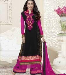 Buy black n pink  embroidered georgette semi stitched salwar with dupatta anarkali-salwar-kameez online