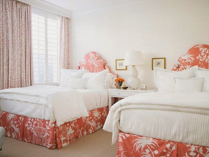 South Shore Decorating Blog: Stunning New Bedrooms Quadrille Lyford Pagoda bedskirt headboard beds coral shrimp