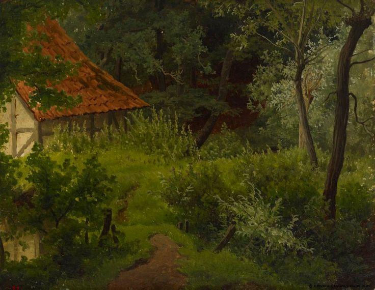 Werner Holmberg, Maalaistalo metsässä, harjoitelma, 1855, öljy paperille, kiinnitetty pahville