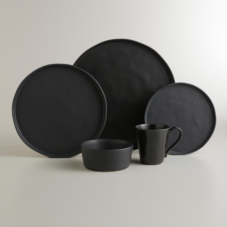 Modern Kitchen Plates: Black Organic Rimmed Charger Plates, Set Of 4