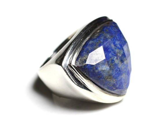 Y L to 12 925 Sterling SILVER Rings Blue Lapis Ring Facet cut Gemstone Size 5½