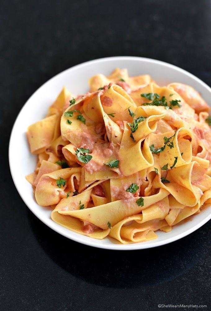 Pasta with Vodka Sauce Recipe shewearsmanyhats.com #vodka #pasta