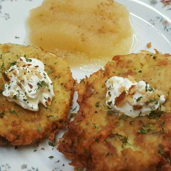 """German Potato Pancakes   """"These are a nice change from regular pancakes. They make a great dinner meal when served with bratwurst sausage. I spread mine with cranberry sauce and top with maple syrup."""""""