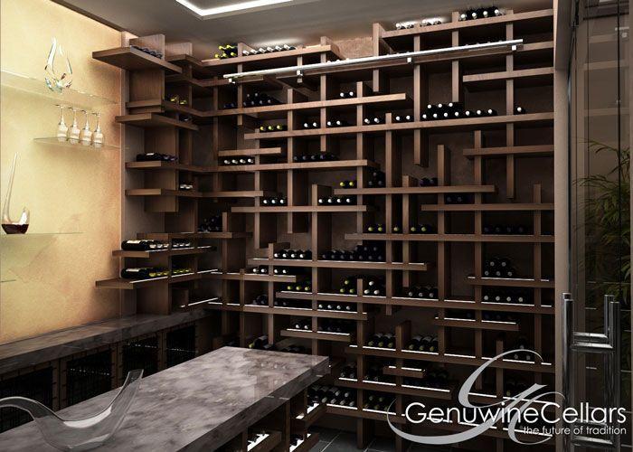 Cave à vin à usage résidentiel / en bois / sur mesure - CUBE - Genuwine Cellars