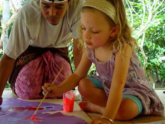 At Balinese Cultural Creation you can learn traditional Balinese dance or gamelan, make shadow puppets, try your hand at the art of batik, make kites, masks or beads, try woodcarving or painting, and even learn how to make the beautiful Balinese offerings.  This place is located in Denpasar, Bali    www.travelling-bali.com