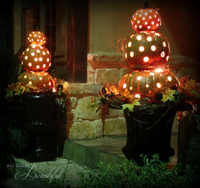 Pumpkin Topiary Ideas Part - 31: All Things Beautiful: DIY Fall Porch {Pumpkin Topiary}