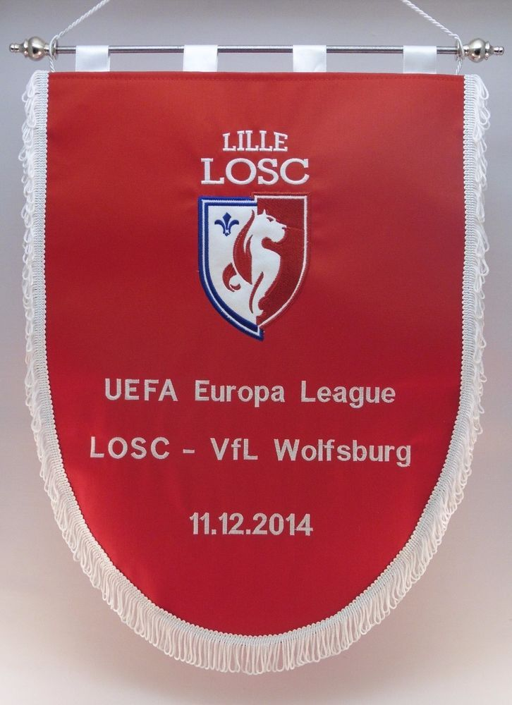 VfL Wolfsburg v Lille LOSC Bestickte Wimpel Embroidered Pennant Gagliardetti  | eBay