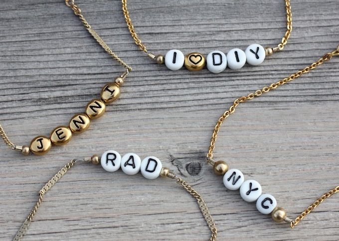 Add personality to a simple gold chain with a fun message made from alphabet beads.