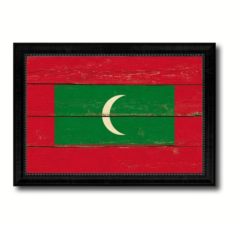 Maldives Country Flag Vintage Canvas Print with Black Picture Frame Home Decor Gifts Wall Art Decoration Artwork