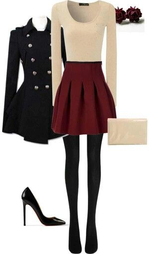 Dressy winter outfit <3 love that skirt!