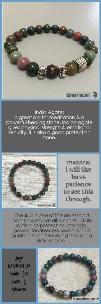 Bracelets For Men & Women. Yoga Meditation Chakra Healing. Tibetan Buddhist - ---  India Agate is a great aid for meditation & a powerful healing stone. Indian agate gives physical strength & emotional security. It is also a good protection stone. - Spiritual Aura Energy Mala Fertility Friendship Love Charm.