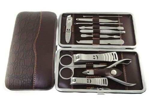 12 Piece Stainless Steel Manicure Pedicure Set Nail Scissors Clippers Kit with Leather Casetravel Grooming Kit -- Want to know more, click on the image.